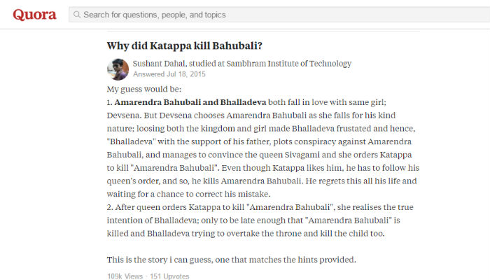 Why did Kattappa kill Baahubali
