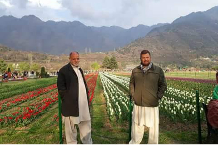 Members of divided Gilani family living in twin Kashmirs during a get together at Tulip Garden in Srinagar