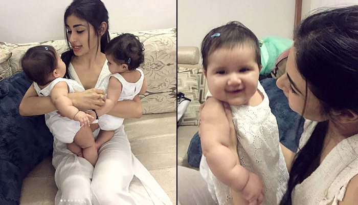 Mouni Roy playing with Karanvir Bohra and Teejay's babies is too much cuteness in one frame. See photos