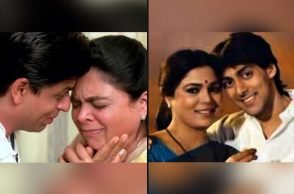 reema lagoo with salman khan, reema lagoo with shah rukh khan