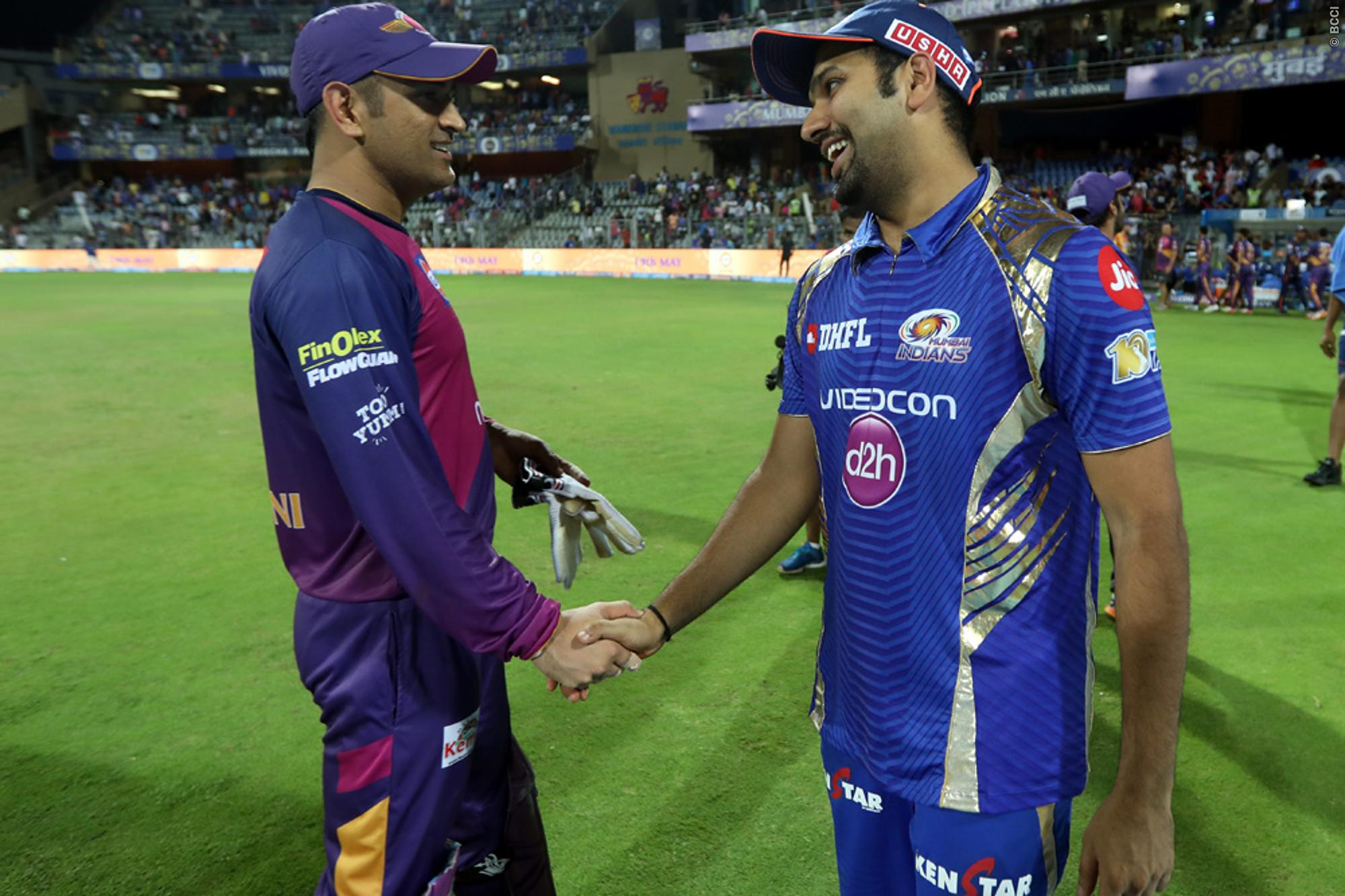 MS Dhoni meets Rohit Sharma