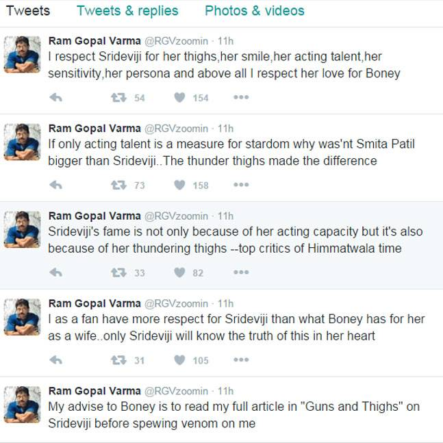 Ram Gopal Varma tweet about Sridevi (Courtesy: Twitter/ RGVzoomin)