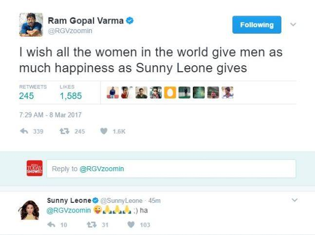 Ram Gopal Varma tweet about Sunny Leone (Courtesy: Twitter/ RGVzoomin)