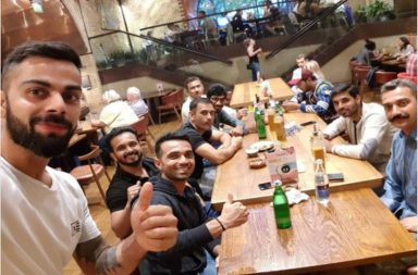 Virat Kohli partying with teammates