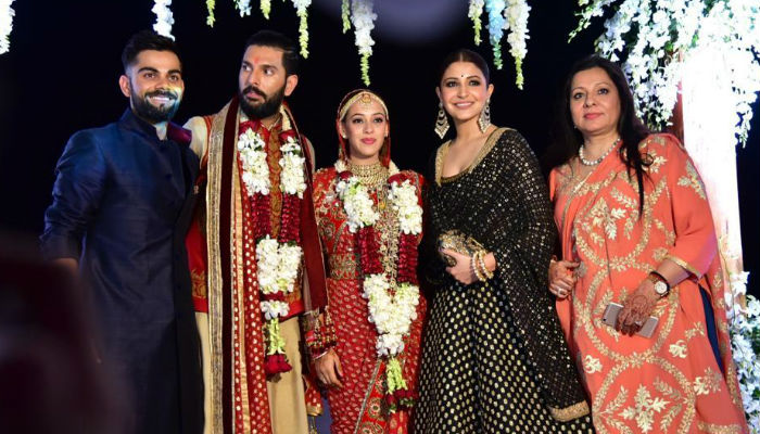 Virat Kohli, Anushka Sharma at Yuvraj Singh, Hazel Keech's wedding