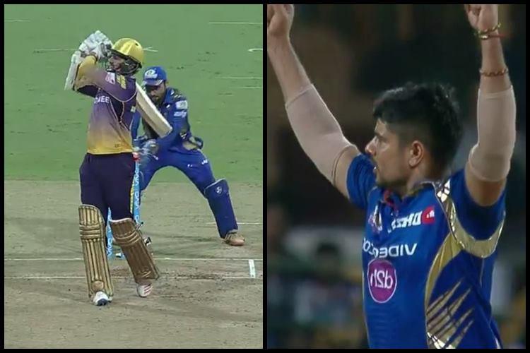 Karn Sharma's first wicket