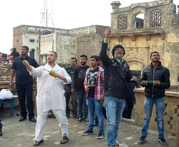 Aamir Khan in a candid pic from sets of Dangal