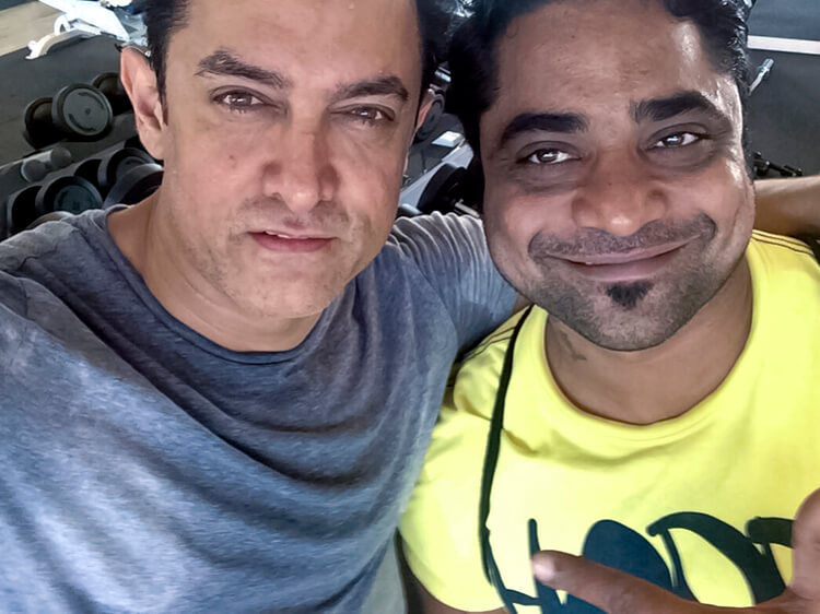 Aamir Khan with his personal trainer Rakesh