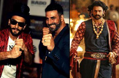 Akshay Kumar, Ranveer Singh and a still from Baahubali 2