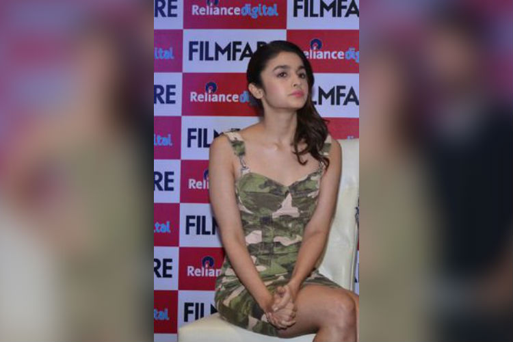Alia Bhatt in military print dungaree