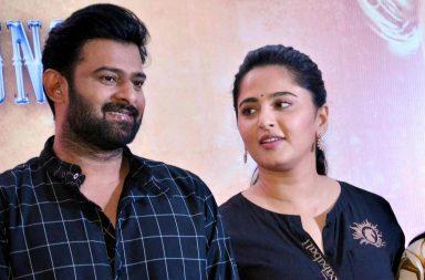 Anushka Shetty and Prabhas at a press conference of Baahubali 2