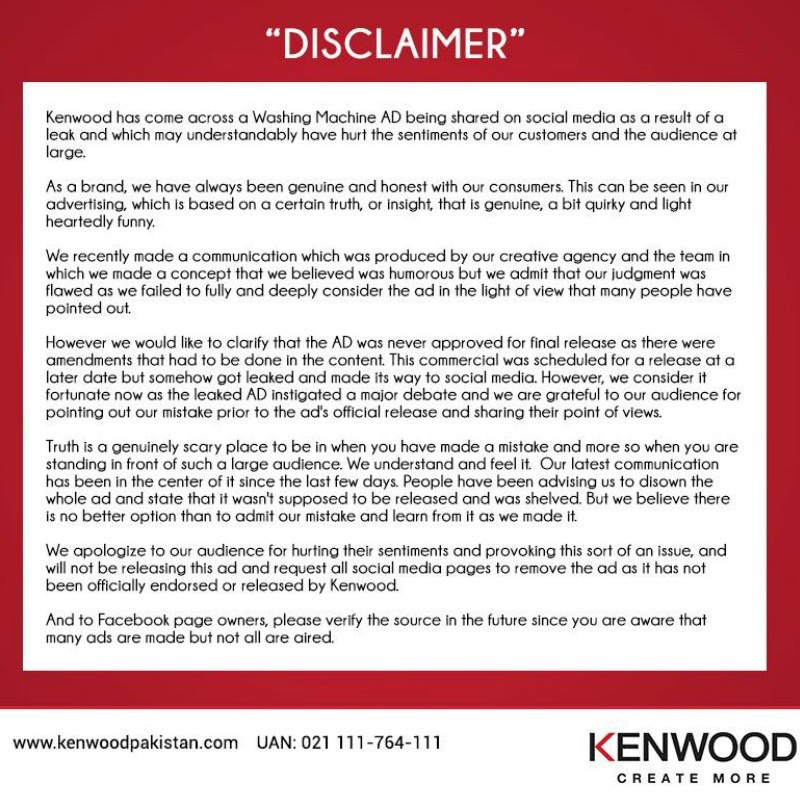 Kenwood issued a public apology.