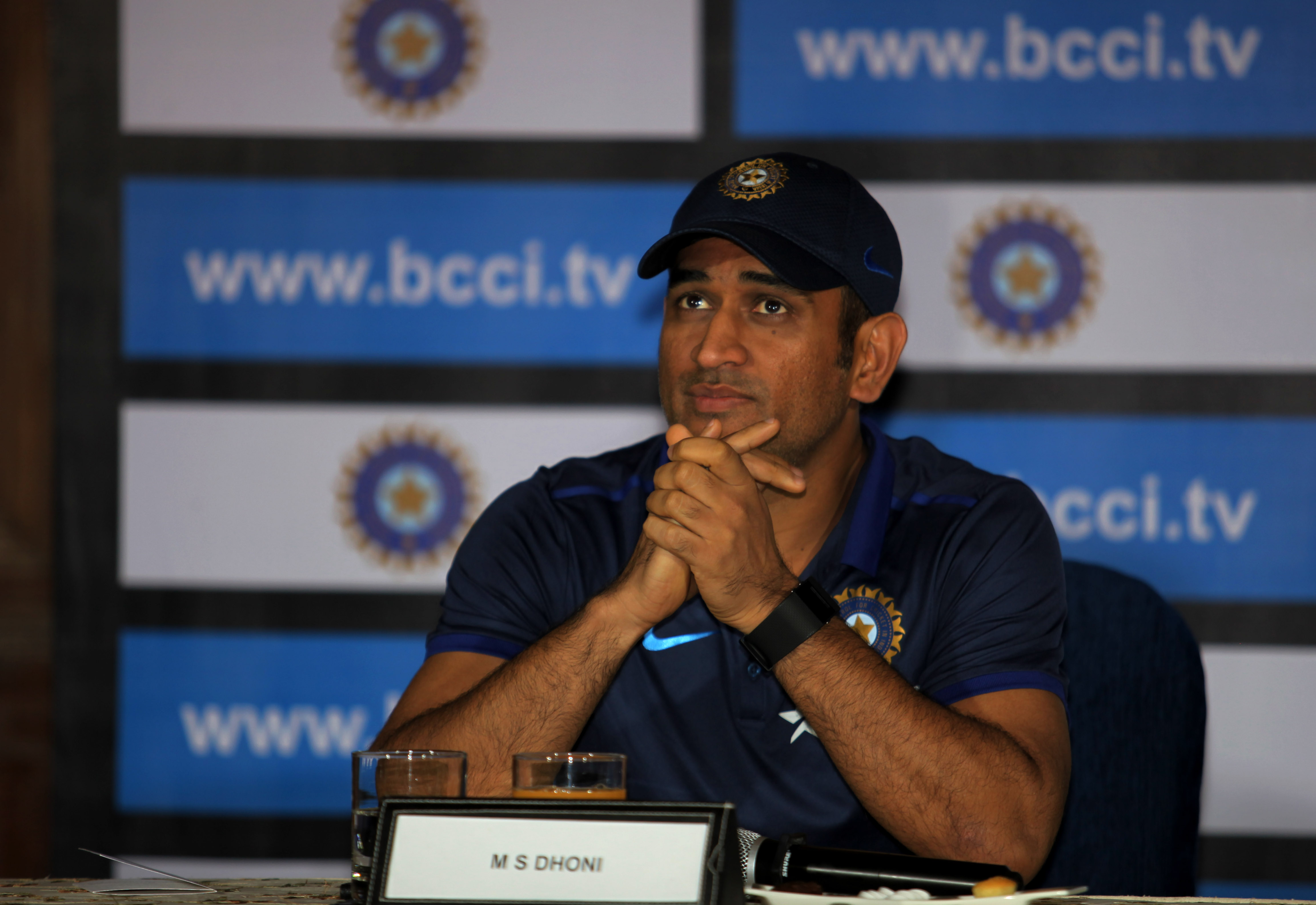 Indian Captain MS Dhoni at a press conference in Kolkata on Sunday. Express Photo by Partha Paul. 21.02.2016. *** Local Caption *** Indian Captain MS Dhoni at a press conference in Kolkata on Sunday. Express Photo by Partha Paul. 21.02.2016.