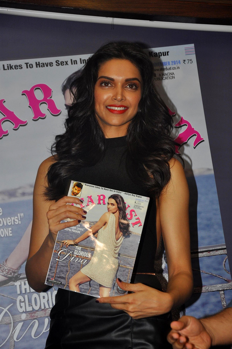 Deepika Padukone in a candid photo from Stardust cover launch