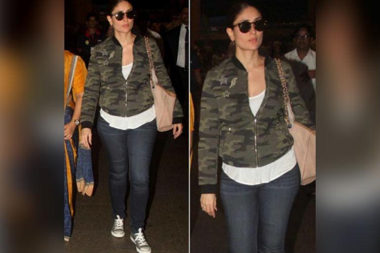 Kareena Kapoor Khan in military print bomber jacket