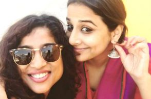 RJ Malishka with Vidya Balan for Tumhari Sulu