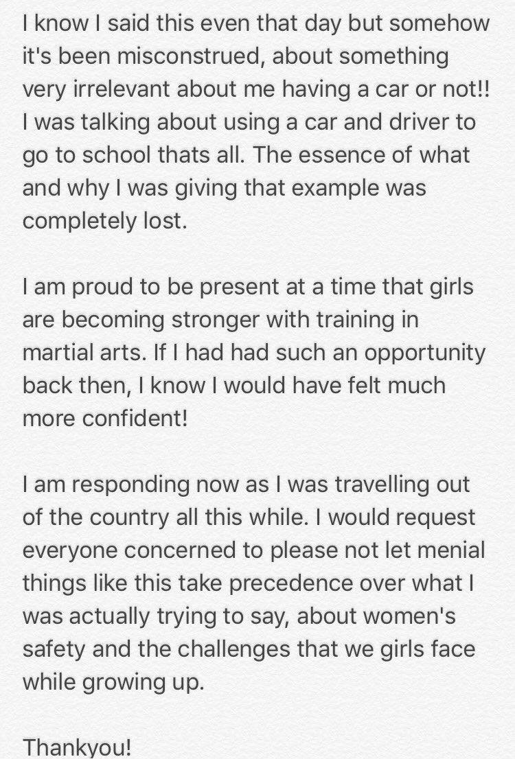 Parineeti Chopra's clarification/posted on Twitter