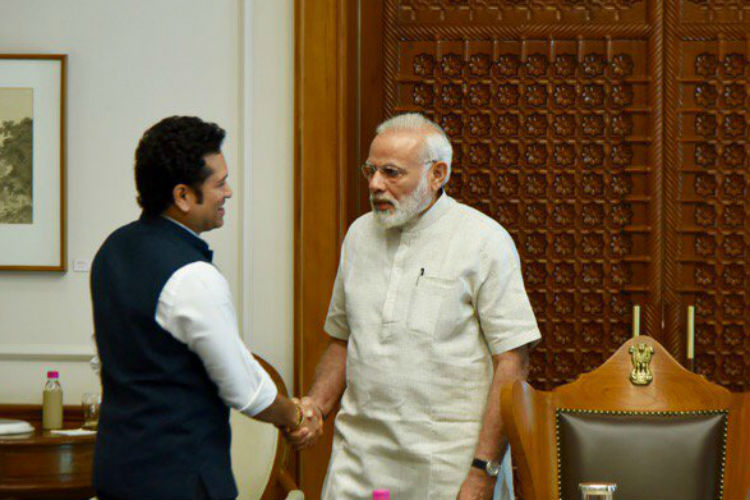 Sachin Tendulkar meets Prime Minister Narendra Modi