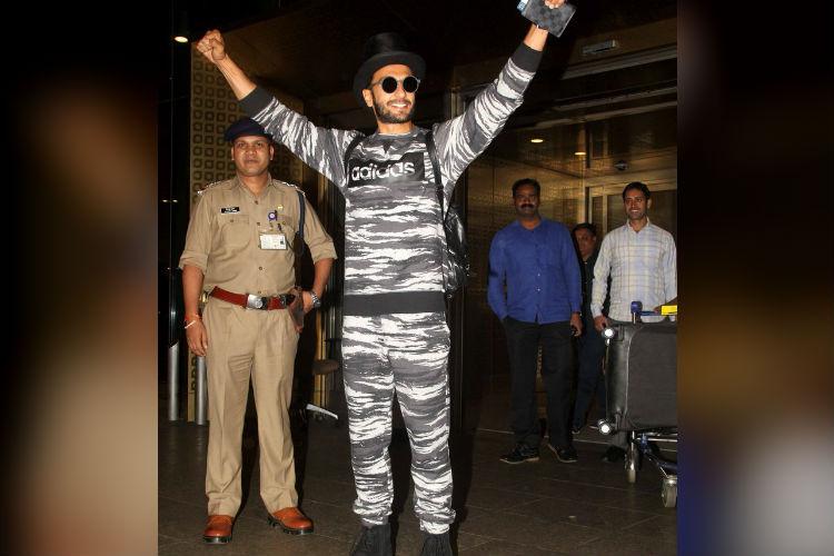 Ranveer Singh in military print Adidas track suit