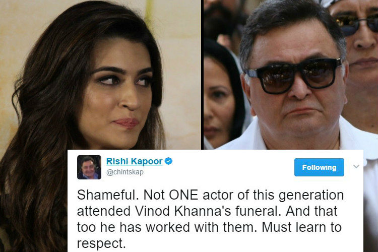 Kriti Sanon gives it back to Rishi Kapoor on the issue of younger stars missing Vinod Khanna's funeral
