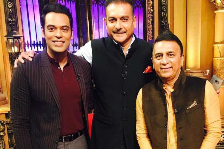 Samir Kochhar, Ravi Shastri and Sunil Gavaskar (Courtesy: Facebook/@samirkochharofficial)