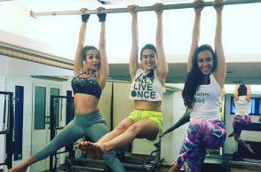 Malaika Arora and Sara Ali Khan with fitness trainer Namrata Purohit