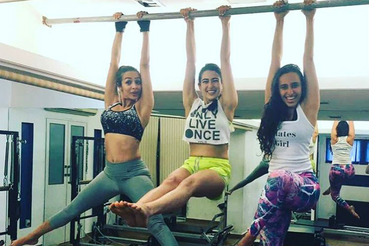 Malaika Arora and Sara Ali Khan with fitness trainer Namrata Purohit