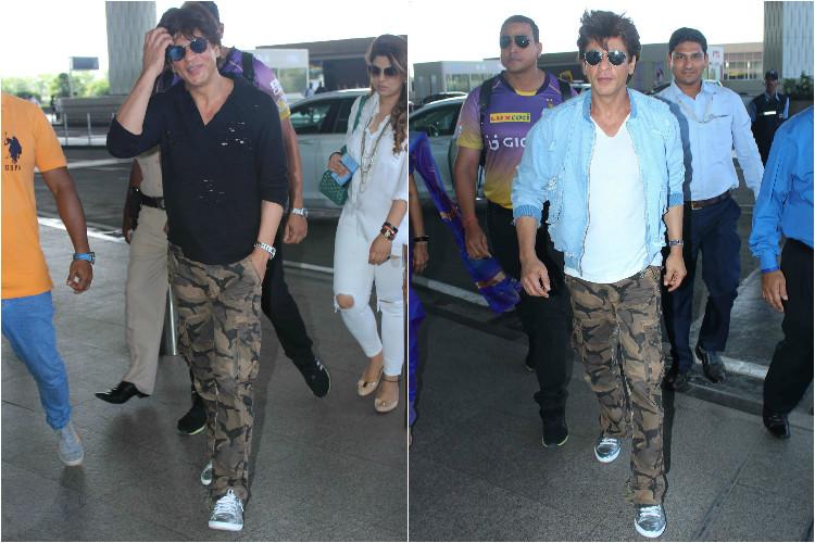 Shah Rukh Khan in a military print cargo