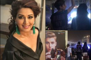 Sonali Bendre with her son at the Justin Bieber Mumbai concert