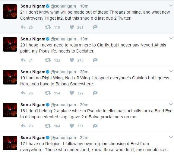 Sonu Nigam's tweet