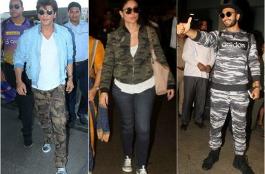 Shah Rukh Khan, Kareena Kapoor Khan and Ranveer Singh in military print outfits