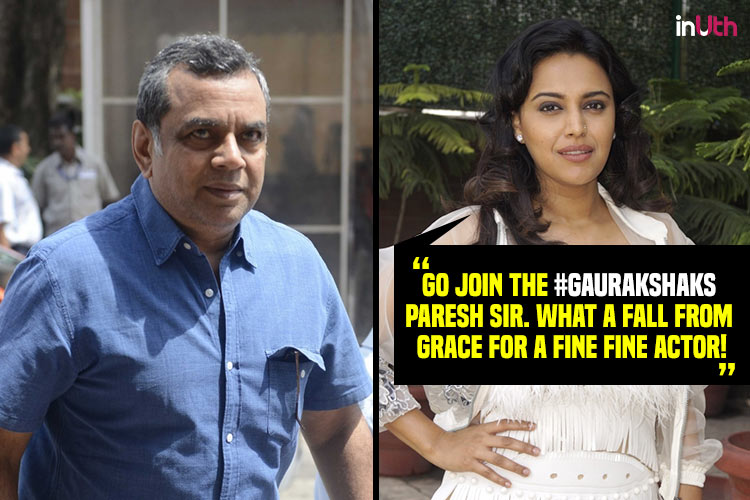 Swara Bhaskar slams Paresh Rawal's tweet on Arundhati Roy by calling it 'shamelessness' of another level