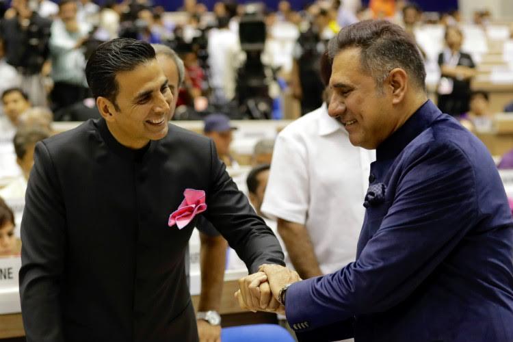 Akshay Kumar and Boman Irani at National Film Awards 2017
