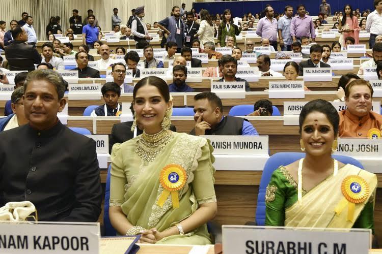 Sonam Kapoor, Adil Hussain at National Film Awards 2017
