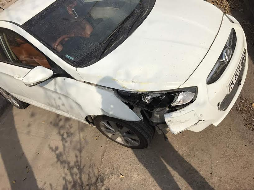 Amit Gupta's car that hit the bike of Police personnel