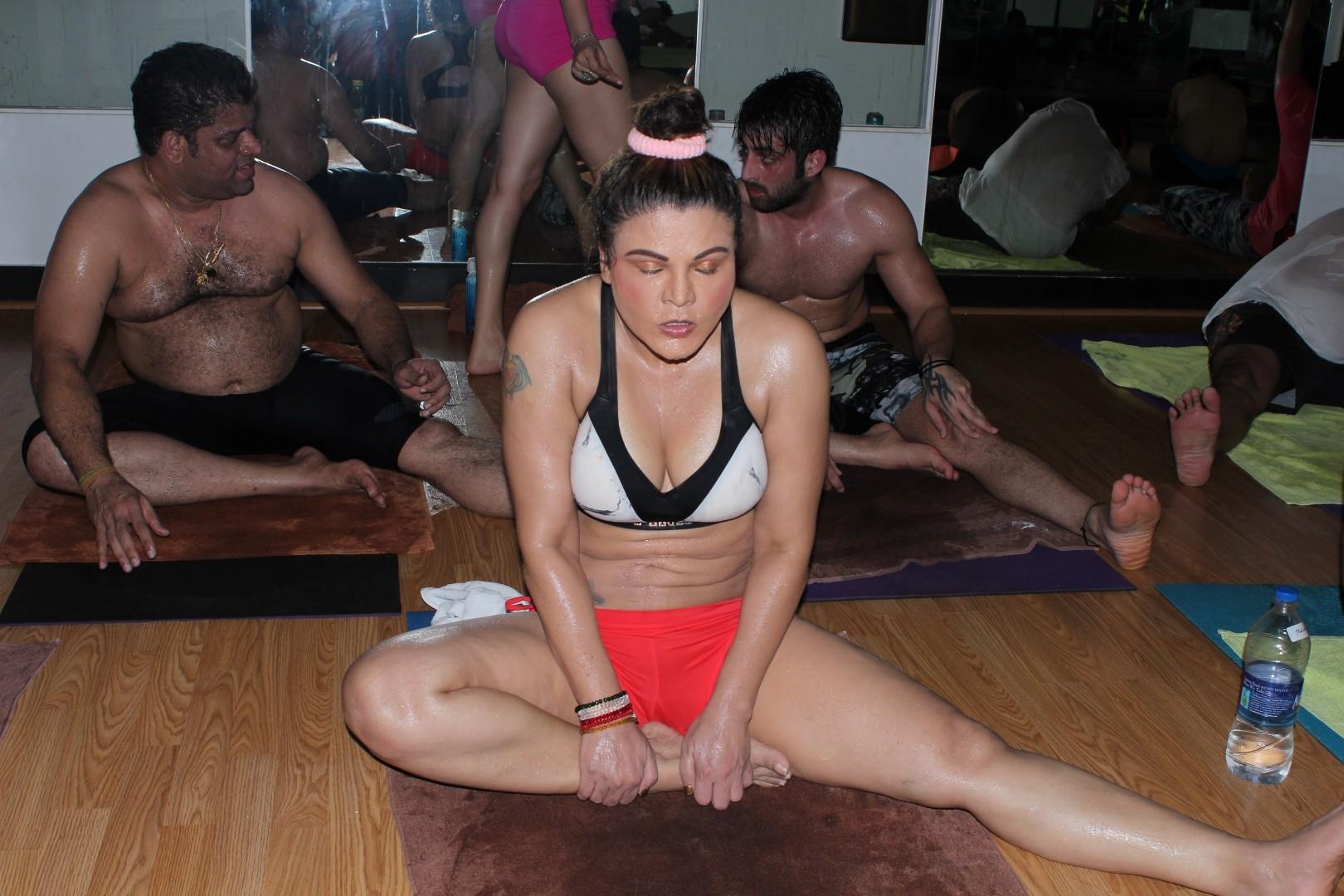 Rakhi Sawant Celebrating World Yoga Interational Day in Mumbai, on June 20, 2017. (Photo: IANS)