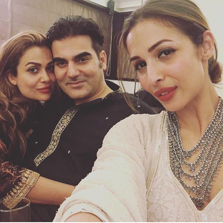 Amrita Arora, Arbaz Khan and Malaika Arora at Salman Khan's Eid party