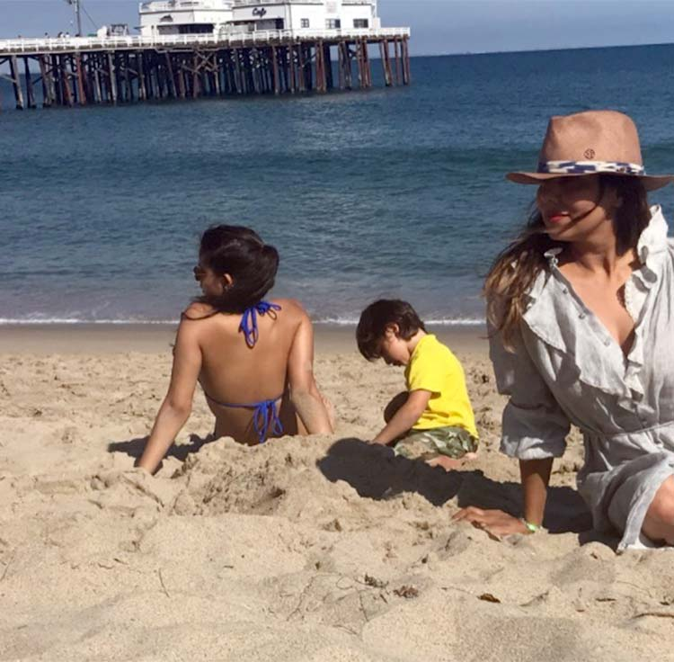 AbRam is chilling with sister and mommy on the Malibu Beach