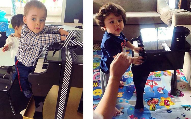 Cute Taimur and Yash at their piano lessons