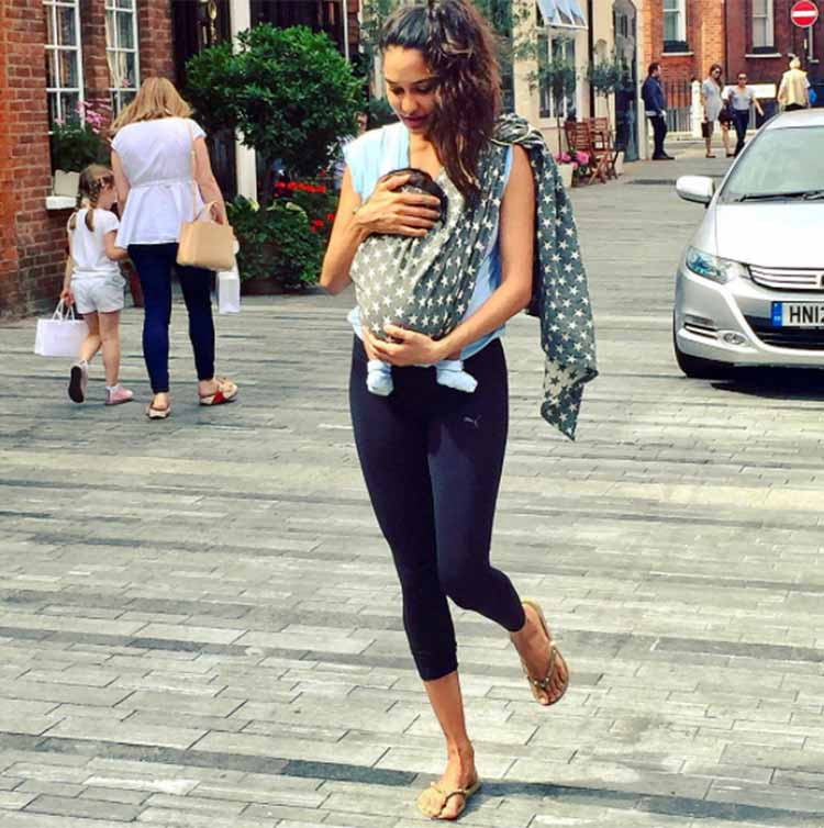 Lisa Haydon takes her little munchkin Zack out for a walk