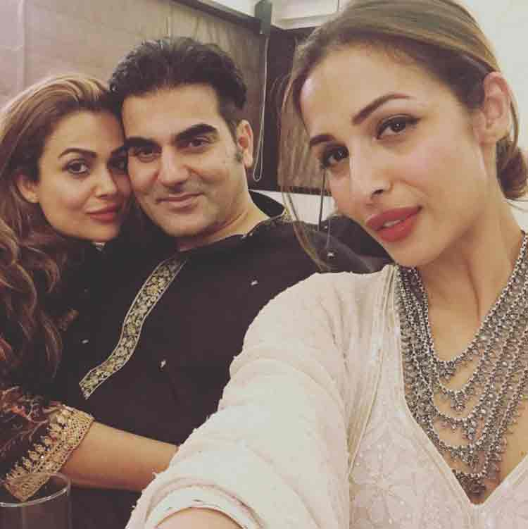 Malaika and Amrita Arora with Arbaaz Khan during the Eid party
