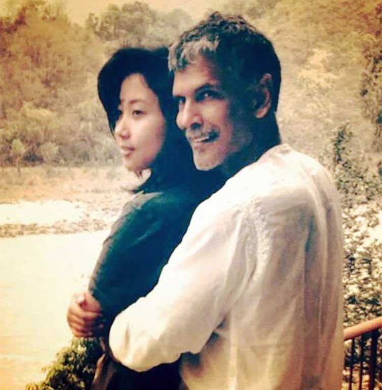 Milind Soman with his alleged girlfriend