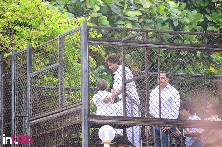 Shah Rukh Khan with AbRam at Mannat on Eid
