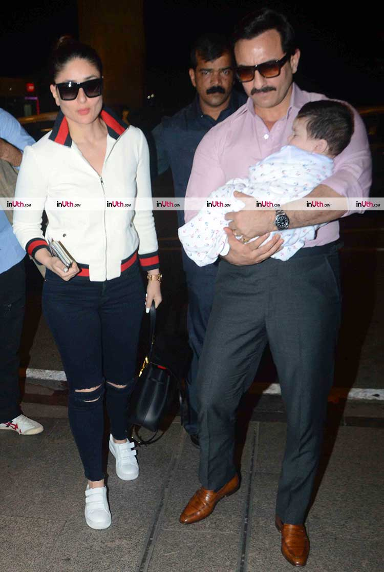 Taimur Ali Khan catches a flight with mom and dad