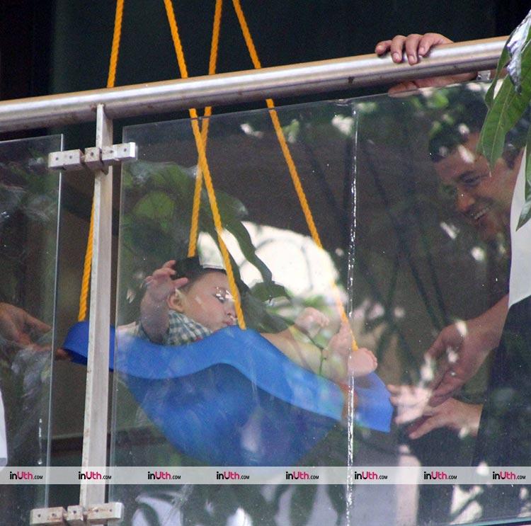Taimur Khan enjoys his time on his swing