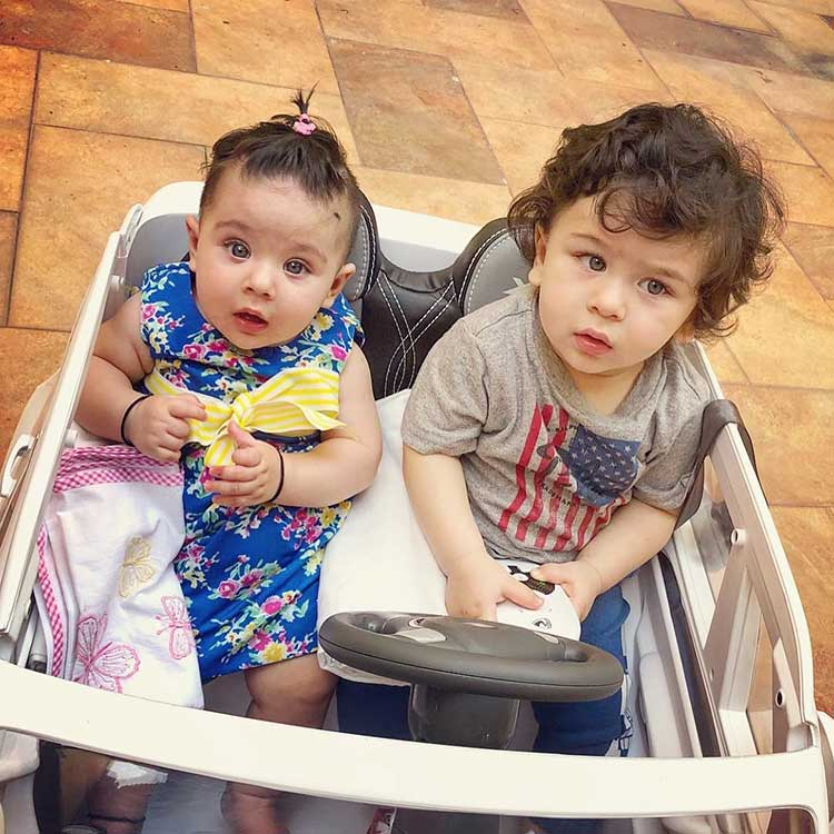 Cute Taimur takes cousin Inaaya on a ride