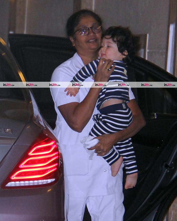 Cutie patootie Taimur snapped outside his house on January 24, 2018