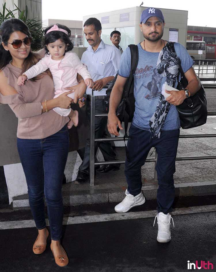 Hinaya with her parents Geeta Basra and Harbhajan Singh