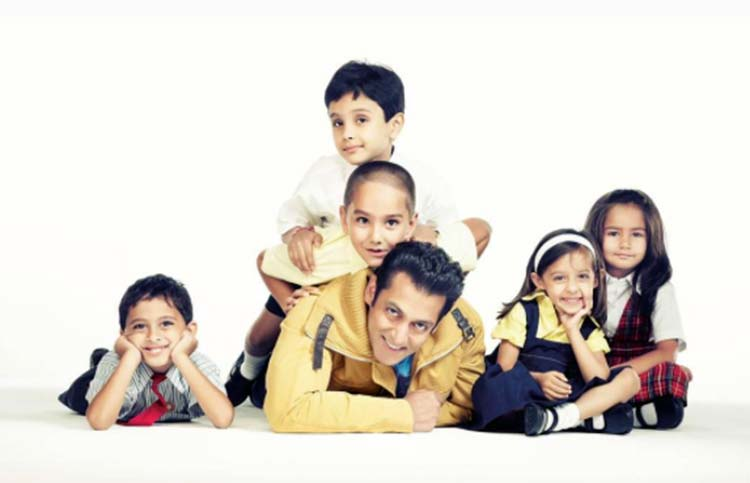 Salman Khan with a lot of children