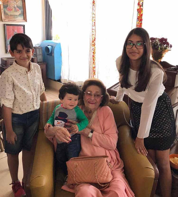 Taimur with his great-grandmother Krishna Kapoor